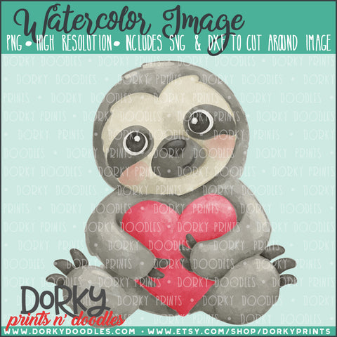 Sloth Valentine's Day Watercolor PNG