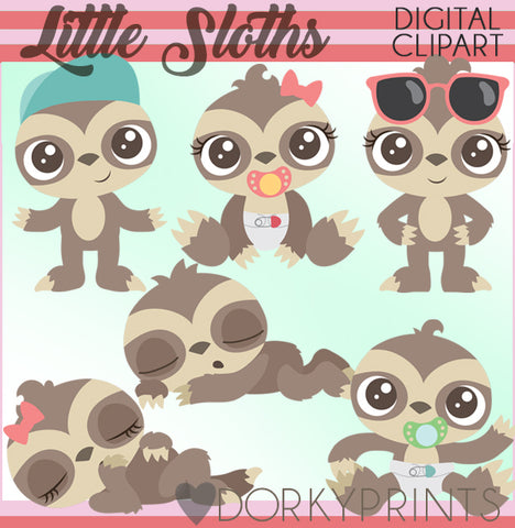 Cute Sloth Animals Clipart