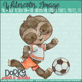 Soccer Sloth Watercolor PNG