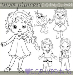 Snow Princess Black Line Character Clipart