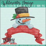Snowman with Banner Watercolor PNG