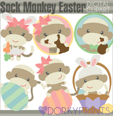 Easter Sock Monkeys Spring Clipart