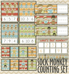 Sock Monkey Counting Learning Printables