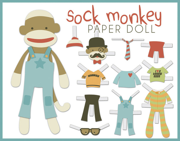 Sock Monkey Paper Dolls Learning Printables