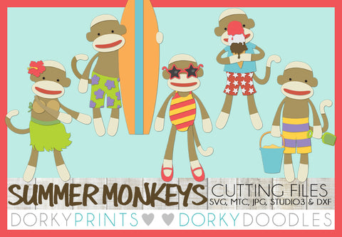 Summer Sock Monkey Cuttable Files