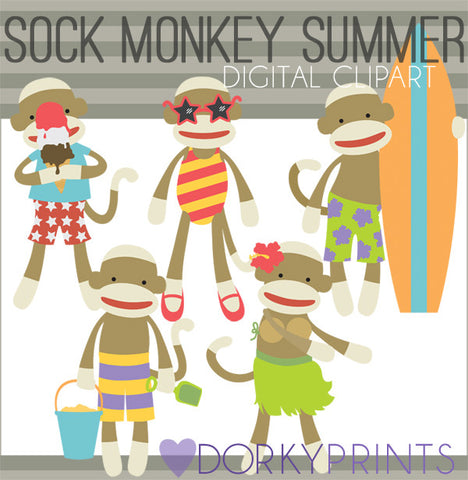 Summer Sock Monkey Clipart