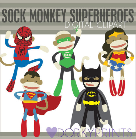 Superhero Sock Monkey Animals Clipart