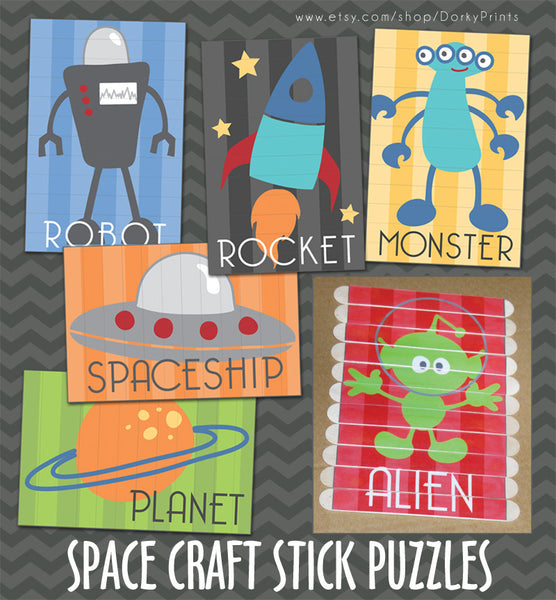 Outer Space Craft Stick Puzzles Learning Printables