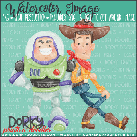 Space Ranger and Cowboy Toy Watercolor PNG