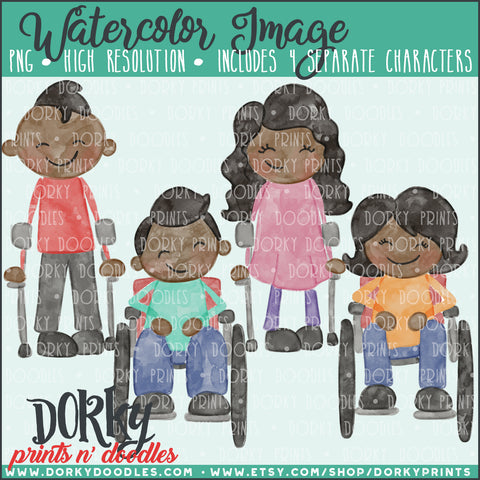 Family Character Watercolor PNG with Special Needs