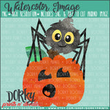 Spider on Pumpkin Watercolor PNG