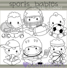 Black Line Sports Babies Clipart