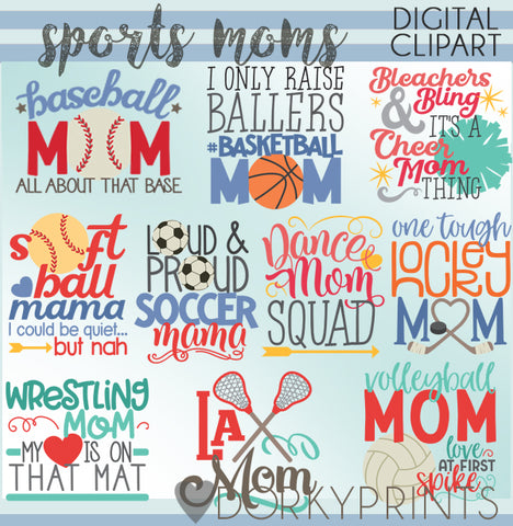 Sports Mom Word Art Clipart