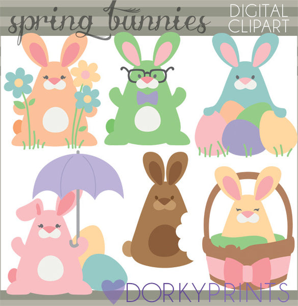 Silly Easter Bunnies Spring Clipart