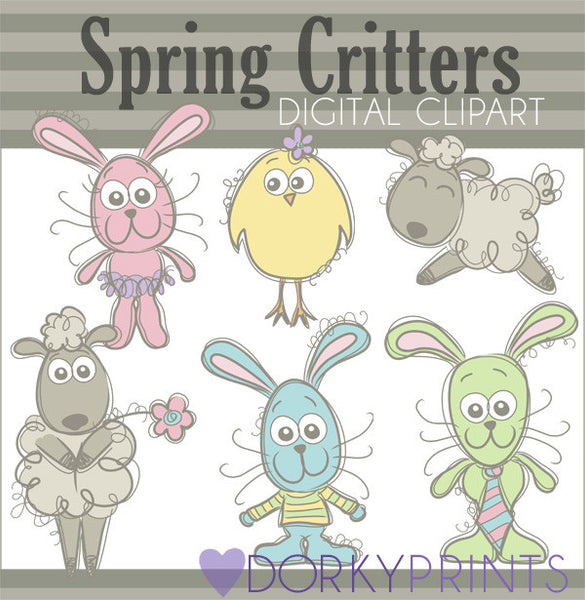 Pastel Critters Spring Clipart