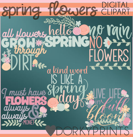 Flower Titles Spring Clipart