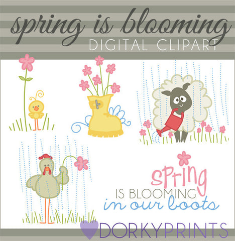 Blooming in Our Boots Spring Clipart