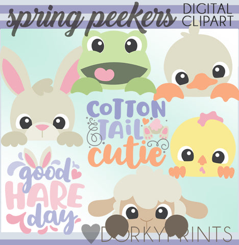 Peeking Animals Spring Clipart