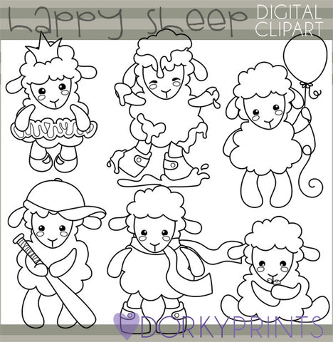 Little Lamb Blackline Spring Clipart