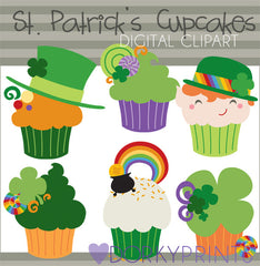 St Patrick's Day Cupcakes Holiday Clipart
