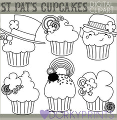 St Patrick's Cupcakes Holiday Clipart