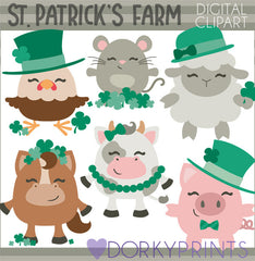 St. Patrick's Farm Animals Holiday Clipart