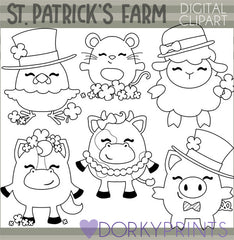 St. Patrick's Farm Animals Blackline Holiday Clipart