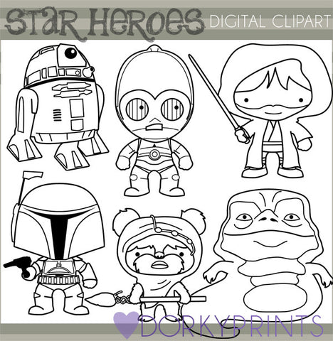 Black Line 2 Star Hero Clipart