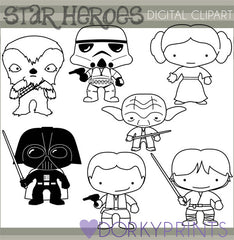 Black Line 1 Star Hero Clipart
