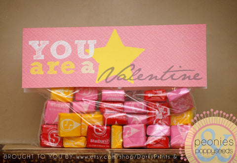 """You're a Star"" Valentine Baggy Topper Holiday Printables"