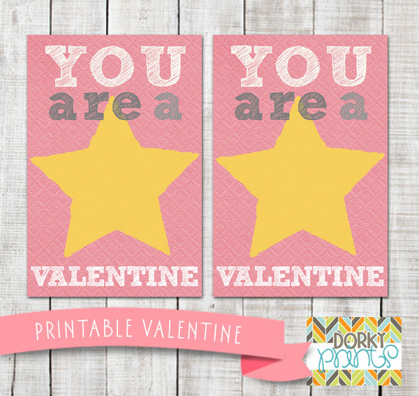 """You're a Star"" Valentine Card Holiday Printables"