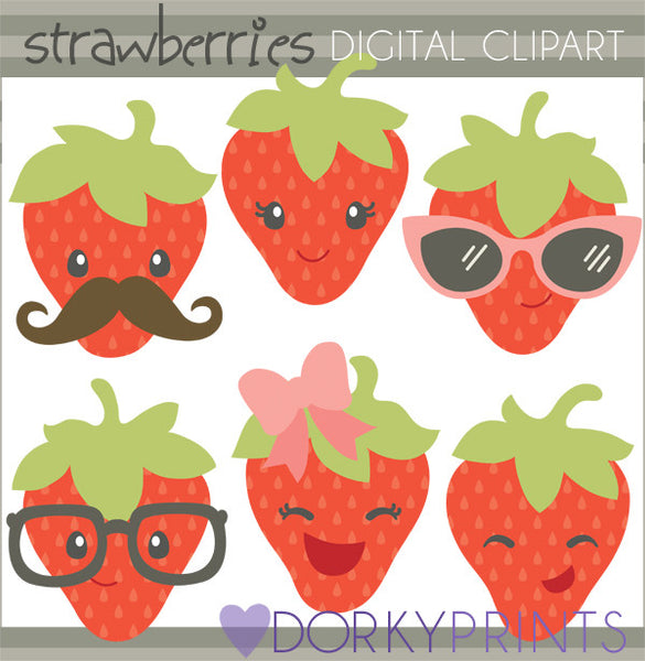 Cute Strawberry Food Clipart