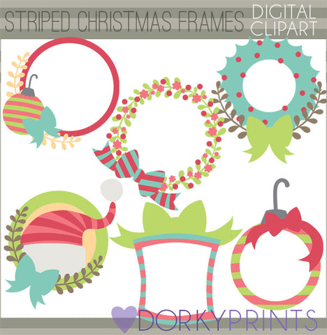 Striped Circle Frames Christmas Clipart