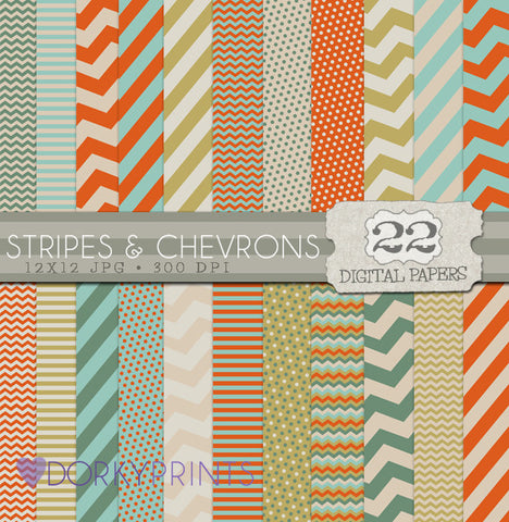 Stripes and Chevrons Digital Paper Pack