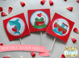 Valentine Sucker Labels Holiday Printables