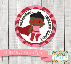 Hero Boy Valentine Circle Tags Holiday Printables
