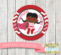 Hero Girl Valentine Circle Tags Holiday Printables