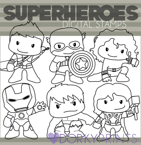 Blackline Super Hero Clipart