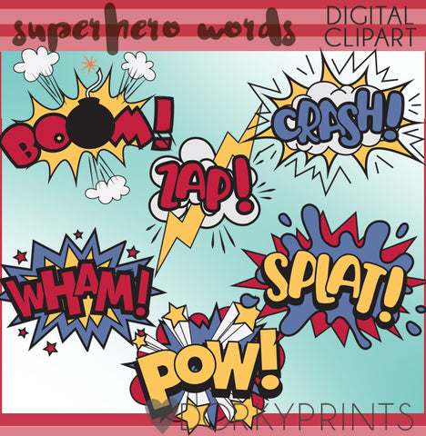 Superhero Words Kid Clipart