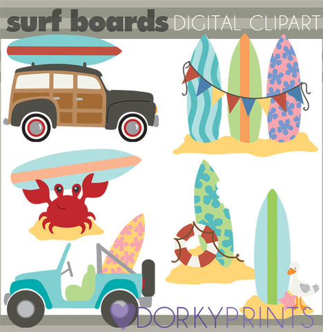 Surfboards Summer Clipart