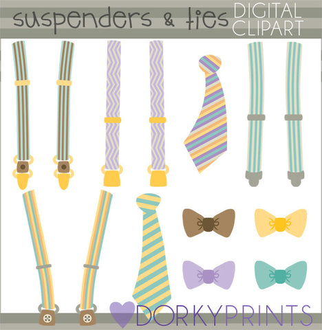Suspenders and Ties Clipart