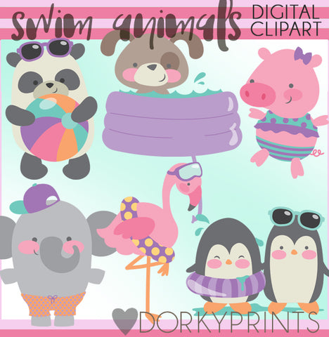 Swim Animals Summer Clipart