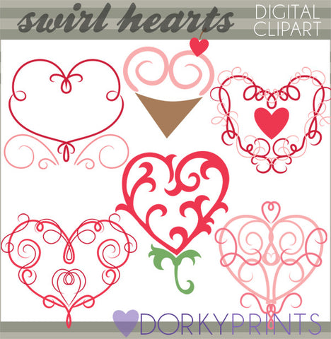Fancy Swirl Hearts Valentine Clipart