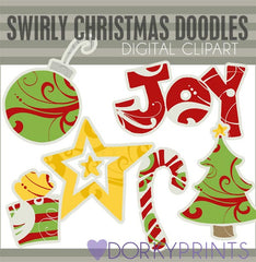 Christmas Doodles Digital Clip Art
