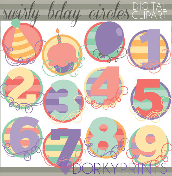 Swirly Numbers Birthday Clipart