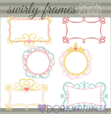 Crowns and Swirls Clipart Frames