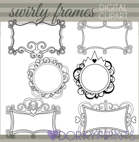 Crowns and Swirls Black Line Clipart Frames