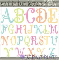 Swirly Fun Alphabet Symbols Clipart