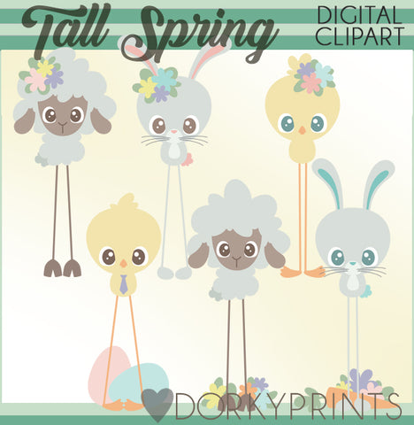 Tall Easter Animals Spring Clipart
