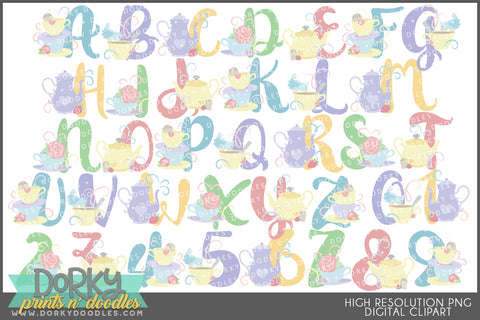 Tea Party Font and Symbols Clipart